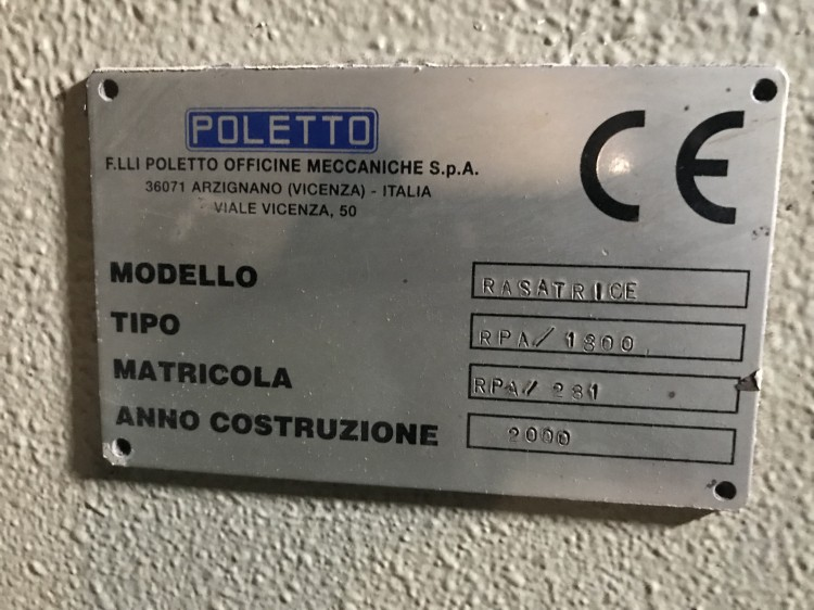 Shaving machines - Poletto - RPA 1800